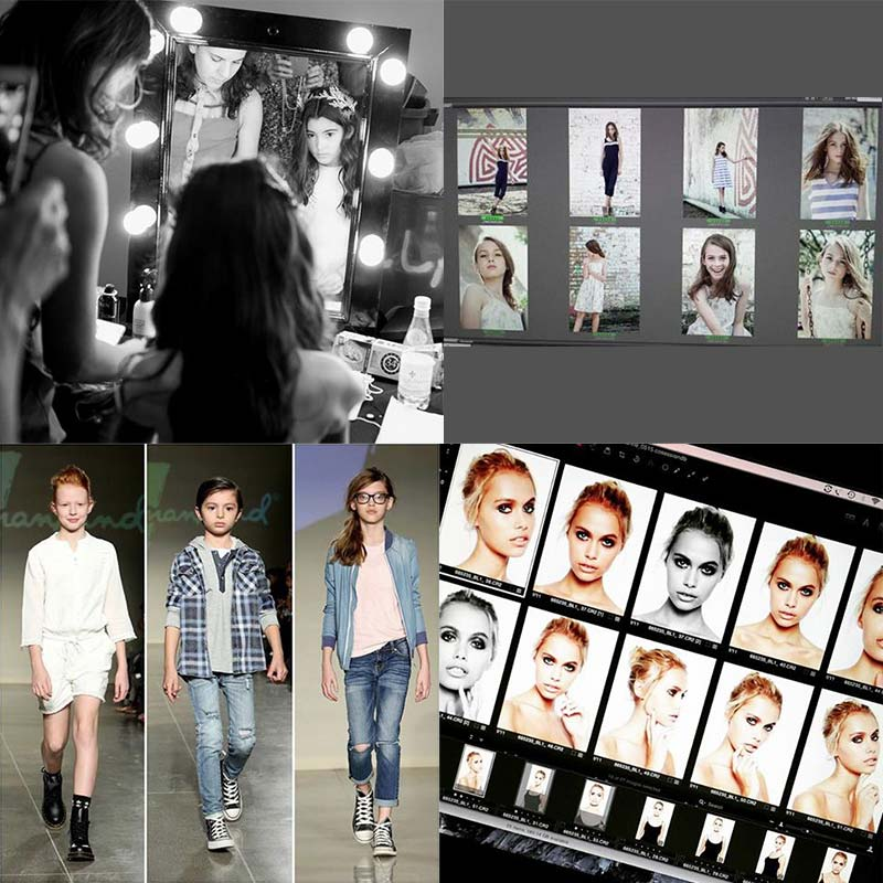 Photo of a young girl model getting her hair done, eight thumbnail photos of young girl models on a computer monitor, three young models on a runway, ten thumbnail photos of an older girl model on a computer monitor