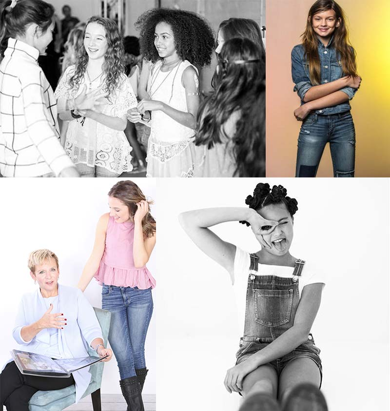 photo of young girl models backstage, two photos of young girls modeling clothes, photo of marlene and a young girl model